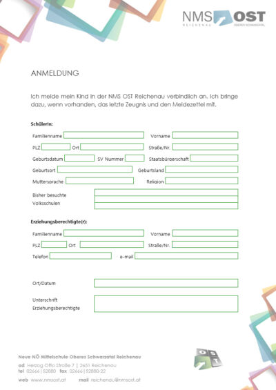 Anmeldung NMS Reichenau